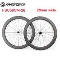 Durable y estable! Farsports FSC58CM-28 bici del carbón 28mm ancho, superficie de frenado del basalto, 20 h 24 h con DT 350 S hubs