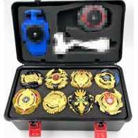 Oro Beybled hoja ráfaga de juguetes para los niños con lanzador y manejar el Bar en caja de almacenamiento de 8 piezas Gyro Juguetes para los niños, regalo