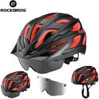 ROCKBROS los moldeado integralmente bicicleta cascos de bicicleta ultraligero magnético gafas MTB ciclismo de carretera cascos de bicicleta con gafas 57-62 cm