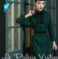 2018 nueva Otoño Invierno elegancia delgada Hepburn mujer cinturón de lana señora verde de alta calidad de la vendimia del vestido del arco