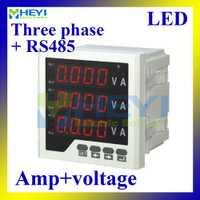 Tres fase amperímetro digital de voltaje LED tensión metros combinado AC multifunción con RS485