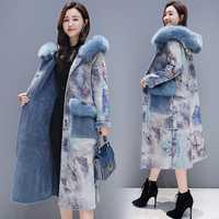2018 nuevo invierno retro, además de terciopelo grueso de una capa femenina larga sección por encima de la rodilla de lana abrigo