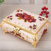 Caja de joyería de metal de oro medio de moda/plata caja de lata organizador de broches de algodón para mujer caja de regalo Z169