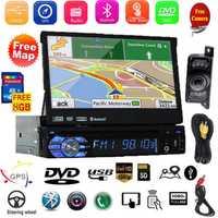 Pantalla táctil coche de Radio Estéreo en el tablero de un solo Din navegación GPS DVD reproductor de CD con cámara de reserva soporte Bluetooth/ USB/SD/AM FM