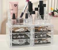 Transparente cosmética caja acrílico cosméticos organizador escritorio claro caja de almacenamiento grande de uñas pantalla extraíble