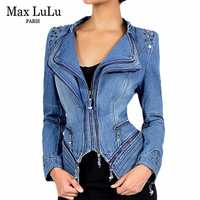Max LuLu Otoño de lujo Vintage Niñas Ropa delgada Chaqueta de mezclilla para Mujer bombardero Chaqueta Mujer Jeans Biker abrigo talla grande 6XL