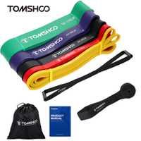 TOMSHOO 5 paquets tirer vers le haut des bandes d'assistance Set résistance suspendus bandes de boucle de Yoga Powerlifting exercice bandes extensibles avec ancre de porte