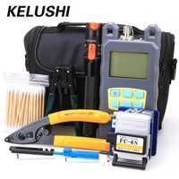 KELUSHI 19 en 1 fibra óptica FTTH Kit de herramientas con conector FC SC + láser rojo de fibra óptica Cable Tester localizador Visual