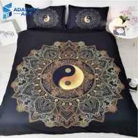 Negro Mandala Tai Chi cama para adultos cama cómoda ropa de cama de microfibra funda de almohada de cama de tamaño Queen juego de edredón