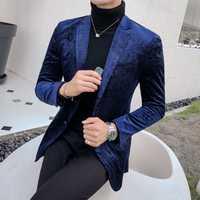 Mens Blazer Europa tamaño único Breasted azul Partido de la boda Blazer y chaquetas hombres Británicos moda nuevo Slim Fit chaqueta de terciopelo hombres