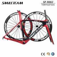 Smileteam 2018 nuevo completo carbono fibra bicicleta de carretera de 700C carreras de bicicleta de carbono de Marcos con ruedas auriculares BB386 UD brillante