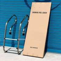 130 cm altura 2 escalera acero inoxidable 304 en el suelo piscina equipo antideslizante escalera juego para 0,8-1,0 m profundidad SF-215