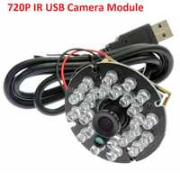 720 p CMOS OV9712 MJPEG 30fps 12mm lente IR cut & IR LED Junta CCTV mini led usb cámara de infrarrojos