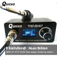 MINI T12 OLED de soldadura Estación de soldadura electrónica de hierro 2018 nuevo diseño versión DC portátil T12 Digital hierro T12-942 QUICKO