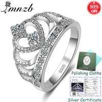 ¡Envió certificado! Real 925 sólido plata corona anillo de circón cúbico princesa Anillos De Compromiso joyería de la boda de ZSRA017