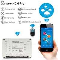 ITEAD Sonoff 4CH Pro y 4CH Pro R2 RF 433 Mhz smart wifi interruptor ewelink Universal DIY casa inteligente módulos google asistente hogar