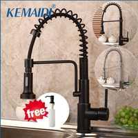 KEMAIDI nuevo diseño latón cromado sacar arriba y abajo de grifo de cocina 2 vías agua negro lavabo grifo mezclador cubierta en girar grifo