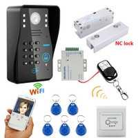 HD 720 P inalámbrico WIFI RFID contraseña Video puerta teléfono timbre sistema intercomunicador visión nocturna + perno eléctrico sin marco de vidrio