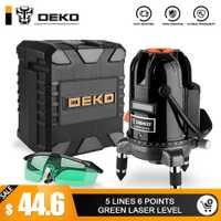 DEKO DKLL501 5 líneas 6 puntos de nivel láser verde de las líneas láser multipropósito-línea al aire libre modo inclinación puede ser utilizado con Detector