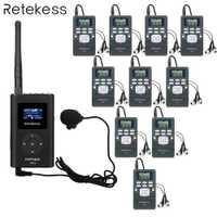 Retekess 1 transmisor de FM + 10 receptor de Radio FM PR13 inalámbrico Tour sistema de guía para orientar la reunión de interpretación simultánea