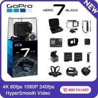 Cámara de Acción impermeable GoPro HERO7 negro con pantalla táctil Cámara deportiva Go Pro HERO 7 fotos de 12 MP estabilización de transmisión en directo