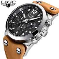 En este momento de marca de lujo de la mejor cronógrafo relojes deportivos al aire libre en ejército militar reloj de cuero impermeable de moda de cuarzo reloj de los hombres