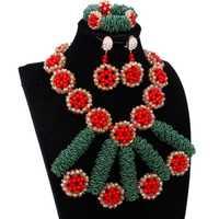 De Lujo joyería nueva llegada africana, conjunto de joyas de cristal rojo verde joyas de oro Dubai pendientes y collar indio