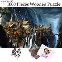 MOMEMO l'elfe château avion 1000 pièces Puzzle en bois Puzzle 50*75 cm taille fantastique paysage pour adultes adolescents Puzzles jouets