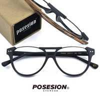 POSESION Vintage gafas ópticas montura hombres Retro ordenador gafas montura para lente transparente hombres Oculos gafas PS5056