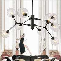 LuKLoy Post candelabro moderno para techo, cocina, sala de estar, comedor, tienda, lámpara colgante, viga de cristal, lámparas LED