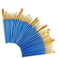 10 unids/set acuarela Gouache pinceles diferentes forma de Nylon del pelo madera mango pintura cepillo conjunto suministros