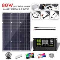 LEROY 80W Panel Solar Flexible células 10/20/30A Dual USB controlador de carga Solar para coche Led cargador de teléfono al aire libre