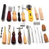 24 piezas de artesanía de cuero Kit de herramientas de mano coser un trabajo de talla silla envío gratis de cuero DIY de la herramienta
