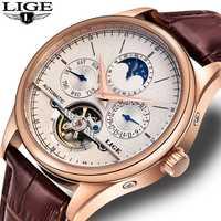 En este momento de los hombres de la marca de Relojes reloj mecánico automático Tourbillon deporte reloj de cuero de negocios ocasionales Retro reloj de pulsera Relojes Hombre