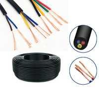 100 metros de 24 AWG, 22 AWG, 20 AWG RVV/2/3/4/5/6/7 /8 núcleos de alambre de cobre Conductor eléctrico RVV Cable negro suave recubierto de alambre