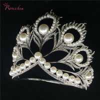 Tamaño real Corona de Miss Universo caliente rhinestone perlas de plumas completo redondo del círculo grandes Coronas tiaras RE484C