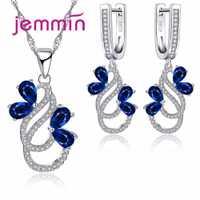 Jemmin de lujo Collar de plata de ley 925 pendientes para las mujeres mujer fiesta azul de cristal austriaco joyería de alta calidad