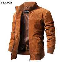 Saveur hommes veste en cuir véritable hommes Pigskin Slim Fit manteau en cuir véritable avec manchette nervurée col debout