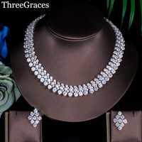 ThreeGraces de lujo de las mujeres joyas de Zirconia cúbica de gran Declaración collar y pendientes para boda JS036