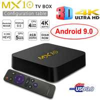 Nuevo Android 9,0 MX10 caja de TV inteligente DDR4 4 GB Ram 64 GB Rom Rockchip RK3328 Quad Core 4 K 3D Wifi USB 3,0 IPTV Smart Set Top Box