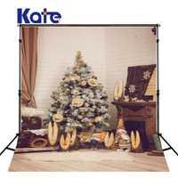 KATE fondo de Navidad familia interior Fondo árbol de Navidad Backdrops recién nacidos foto apoyos alfombra y piso de madera