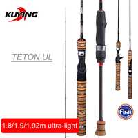 KUYING Teton 1,8 m 1,92 M 1,9 m UL ultraligero caña de pescar suave señuelo de carbono fundido caña de caña FUJI parte trucha de acción media
