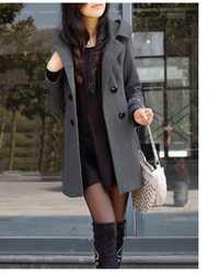 Moda Casual chaqueta invierno Casaco femenino medio largo doble Breasted con capucha Capa delgada chaqueta de las mujeres abrigo exterior