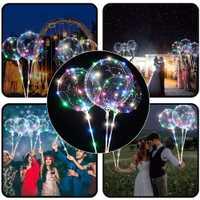 40 photos brillent dans le lumière LED sombre enfants jouets réutilisable LED lumineuse ballon Transparent rond bulle rave lumières bâton lumineux