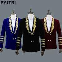 PYJTRL hombres cuello chal azul real de bordado suelto Chaqueta de traje de escenario cantante chaqueta de los hombres de diseños