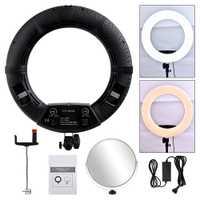 Nueva alta calidad 18 pulgadas LED anillo luz kit Cámara Kits de estudio de fotografía video fotografía Iluminación conjunto con espejo trípode @ JH