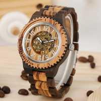 Reloj Automático para Hombre, Reloj de madera completo, Reloj esqueleto con números árabes de plata, relojes de moda hechos a mano naturales, Reloj para Hombre