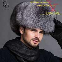 Caliente de gama alta de lujo de piel de sombrero de los hombres de piel de zorro sombrero cap Feng Lei la tapa de piel necesario sombrero