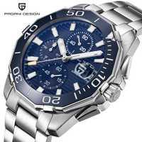 PAGANI DISEÑO DE ACERO INOXIDABLE relojes de hombres de la marca de lujo de deporte cronógrafo de negocios impermeable reloj de pulsera de cuarzo de los hombres reloj hombre