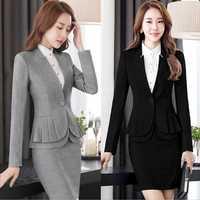2019 nueva dama primavera otoño Slim abrigos mujeres Peplum traje chaqueta mujer Casual de manga larga chaquetas negro gris 4XL